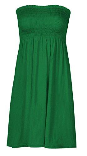 MIXLOT Women Sheering Strapless Plain Top Beach Dress Top Casual wear Size 6-20 (12-14, Green)]()