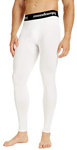 COOLOMG Mens Compression Pants Baselayer Cool Dry Sports Pants Leg Tights for Men Boys Youth White M