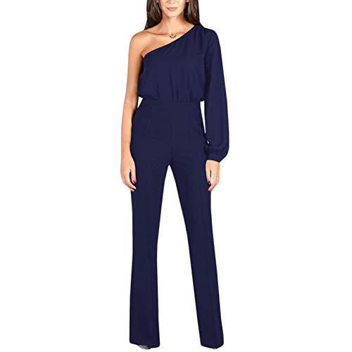 Solid Blue Wide Leg Jumpsuit Royal Elegant One Shoulder Ex1xzgq4