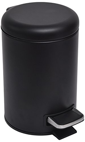 EVIDECO Bathroom 3-liters/0.8-gal Soft Close Small Round Metal Floor Step Trash Can Waste Bin, Black, 10
