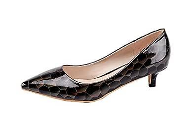 LALA IKAI Women's Kitten Heels Pumps Pointed Toe Stiletto High Heels Dress Shoes Black