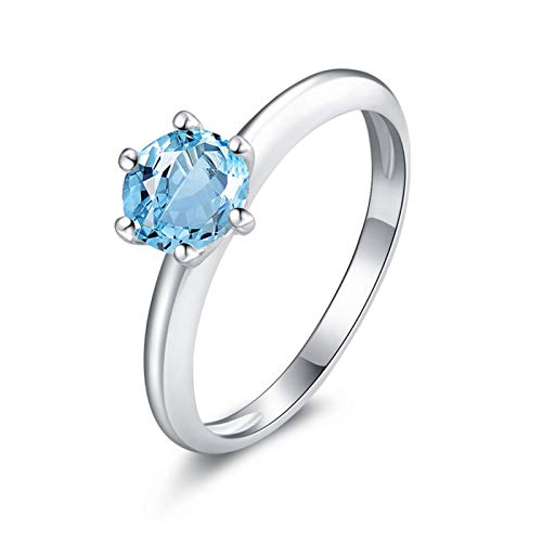 Daesar Sterling Silver Rings for Women Engagement Ring 6MM Blue Topaz Ring Round Ring Size 11