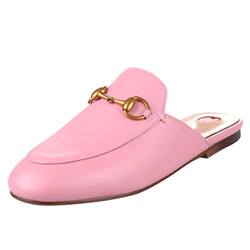 Agodor Women's Flat Slingback Clog Mules Slip On Outdoor Dress Slippers (US 8, Pink - Mules Lightweight Leather