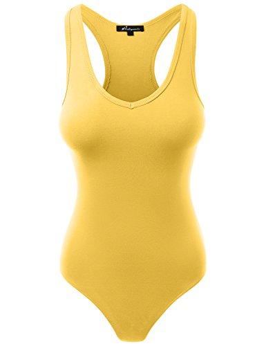 Jumpsuit Racerback Tank Top Bodysuits Mustard L (Racerback Top Womens)