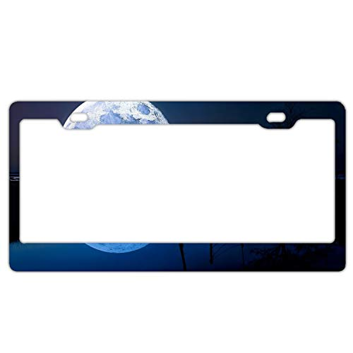 Elvira Jasper Reflection Moon Horizon Lake Blue Personalized License Plate Frame Covers Metal Gills