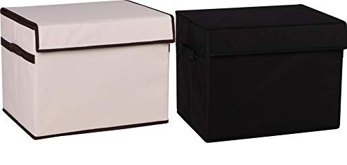 - Prorighty [2-Pack, Black+Beige] Strong Collapsible Toy Chest Box Organizer Flip-Top LID Organizer for Girl or Boy Gifts Container Multi-use Nursery or Laundry