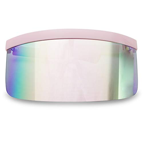 (Huge Oversize Futuristic Flat Top Single Shield Mono Mirrored Iconic Visor Sunglasses (Pink Frame | Rose Pink Mirror) )