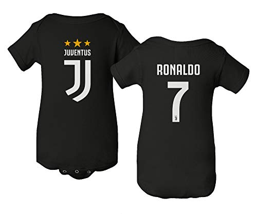 Spark Apparel Soccer Shirt #7 Cristiano Ronaldo Juve CR7 Little Infant Baby Short Sleeve Bodysuit (Black, 6M)