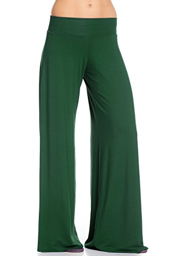 Frumos Womens Palazzo Pants Hunter Green (Cotton Wide Leg Pants)