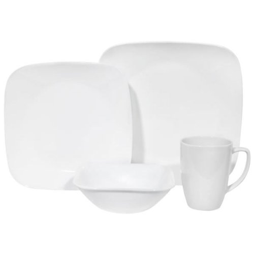Corelle Square Pure White 16-Pc Set W/ Bonus 10-Oz Bowls
