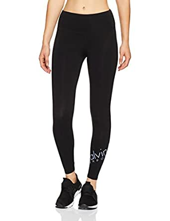 Calvin Klein Women's High Waisted Fitness Compression Pant with Logo 7/8 Tight, Black (Black W Cornflower Print), XS
