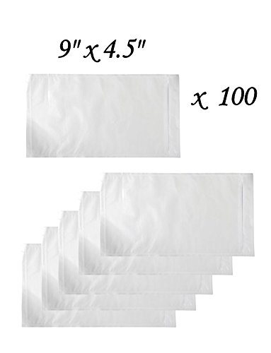 100 Clear Adhesive Packing List Envelope Pouches - 9'' x 4.5'' - Open Ended with Lip