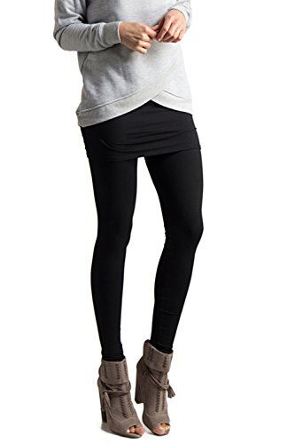 (Fashionomics Womens Mini Skirt Soft Elasticated Full Length Leggings Black)