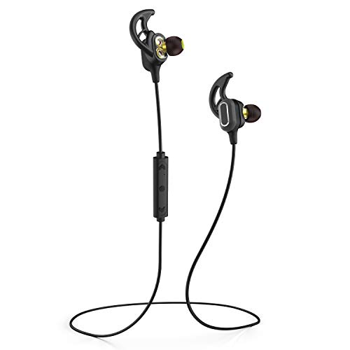Phaiser BHS-780 Bluetooth Headphones with Dual Graphene Drivers and AptX Sport Headset Earphones with Mic and Lifetime Sweatproof Guarantee - Wireless Bluetooth Earbuds for Running, Blackout