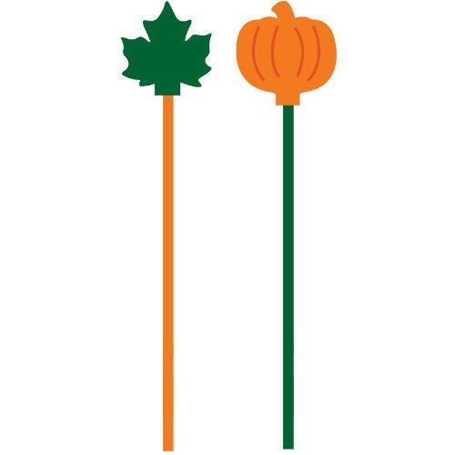 Pumpkin And Leaf Plastic Stirrers