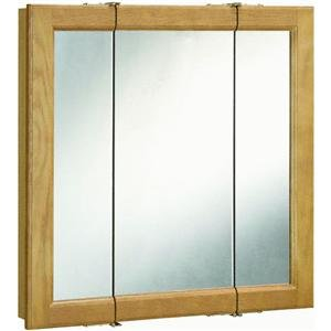 Design House 545301 Claremont Honey Oak Tri-View Medicine Cabinet Mirror with 3-Doors, 30-Inches by 30-Inches