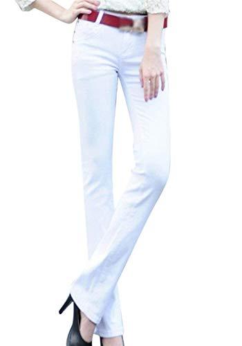 Schwarz Skinny De Sólido Con Color Jeans Ropa Slim Micro Casual Fit Bolsillos Mujer Casuales Acampanados Botón Pantalones gAapqfa