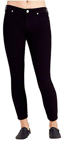 - True Religion Women's Halle Super Skinny Crop Capri Corduroy Pant - Black Sand