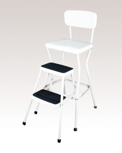 COSCO 11118WHTE White Retro Counter Chair/Step Stool with Pull-out Steps, Counter height chair provides extra seating when needed or use the 200 lb. capacity step stool to help reach those high areas by COSCO