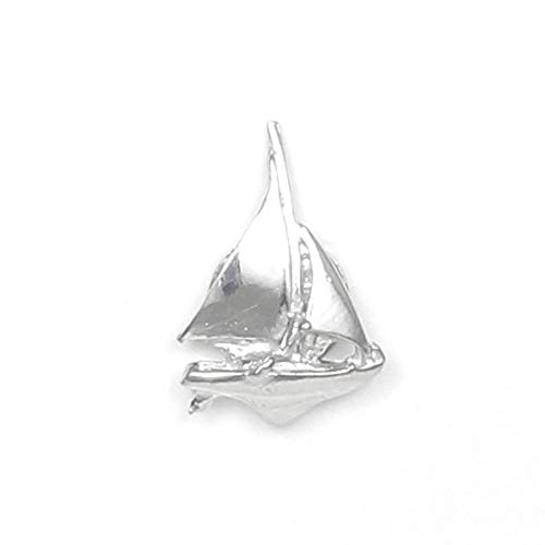 (Handcrafted Pewter Sailboat Scarf Pin with Magnetic back - Gift Packaged - Made in USA)