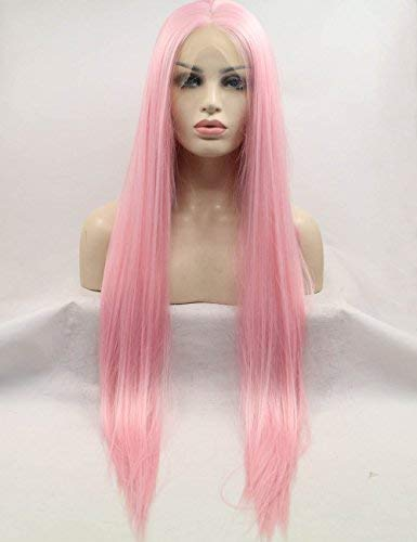 Pink Lace Front Wigs Synthetic Women Long Straight for sale  Delivered anywhere in Canada