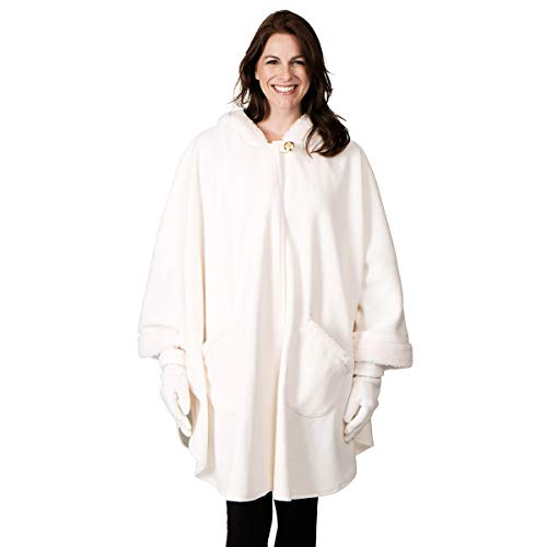 Le Moda Knit Fleece Wrap & Glove Set (ONE SIZE, WWHITE) -