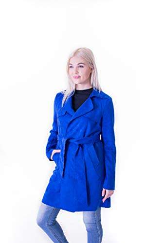 Embroidered Trench Coat - Solitaire Faux Suede Trench Coat Jacket (x-Large, Royal Blue)