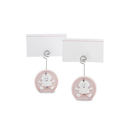 Holder Places (Kate Aspen Baby Girl Pink Place Card Holder (Set of 6) Placecard, Pink and White)