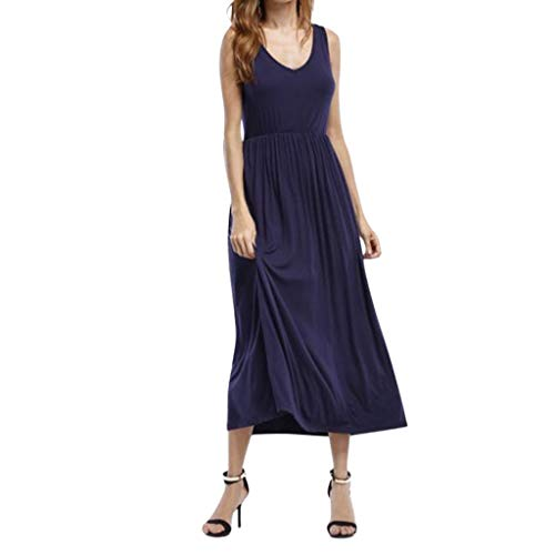 (Women Loose Plus Size Long Dress Casual Solid Color Sleeveless Crew Neck High Waist Pleated Dresses)