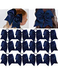 "Large Cheer Bows Ponytail Holder Girls Elastic Hair Ties 8"" 12PCS Navy Blue Hair Accessories for Teens Women Girls Softball Competition Sports Cheerleaders"