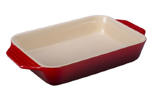 - Le Creuset Stoneware Rectangular Dish, 12.5 by 8.25-Inch, Cerise (Cherry Red)