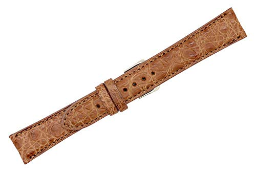 Genuine Crocodile Leather Strap - 18mm Cognac Genuine Crocodile - Matte Padded Stitched - American Factory Direct - Replacement Watch Band Strap - Gold and Silver Buckles Included - Made in The USA by Real Leather Creations FBA478 ST