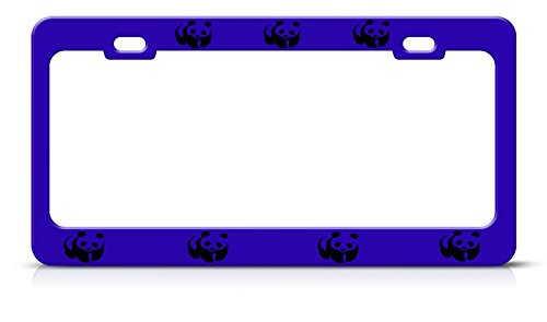 (Panda License Plate Frame Metal Blue Steel Heavy Duty Tag Border Perfect for Men Women Car garadge Decor)