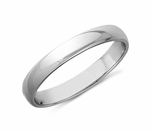 (Queenwish 3mm White Tungsten High Polished Wedding Band Ring Comfort Fit Size 8)