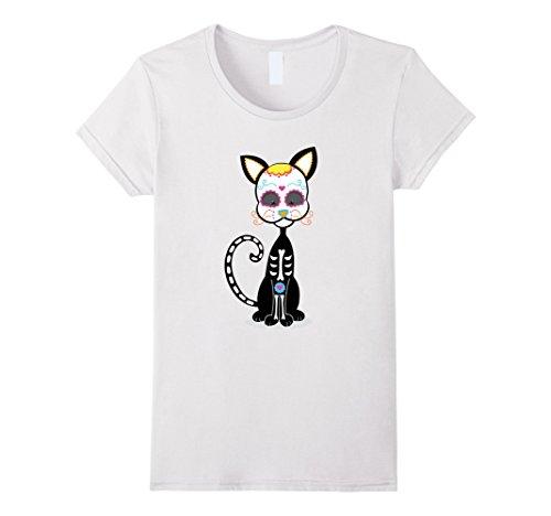 [Womens Black Cat Sugar Skull costume Mexico Dia de los Muertos Large White] (Dia De Los Muertos Female Costumes)