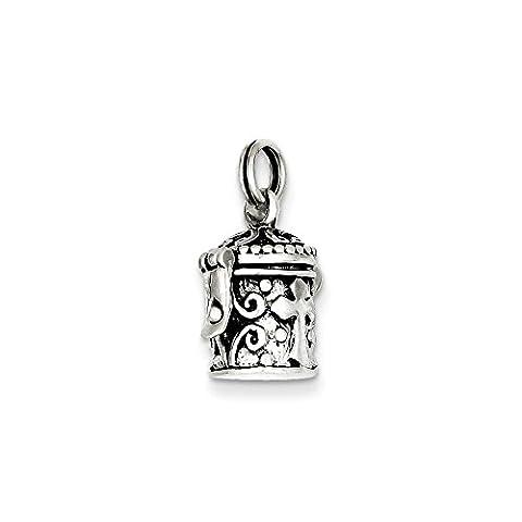 Sterling Silver Antiqued Cross Prayer Box Charm (16 x 11mm) - Cross Prayer Box Charm