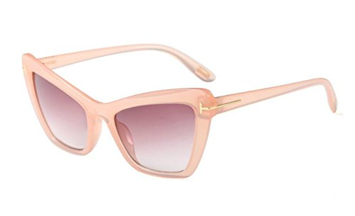 60s Vintage Retro Women Sunglasses Cateye Designer Fashion Rectangle Frame (Pink, 65)