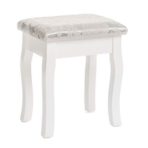 (Mecor Vanity Stool Makeup Bench Backless Padded Cushioned Vanity Seat Wood Legs White)