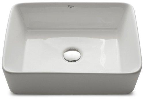 Kraus KCV-121-ORB White Rectangular Ceramic Bathroom Sink with Pop Up Drain Oil Rubbed Bronze
