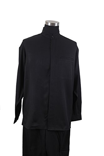 - New Men's 2-piece Mandarin/ Banded Collar Casual Shirt Set /Walking Suit 2826 (3XL/44, Black)