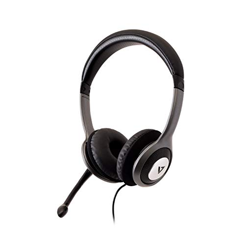 V7 HU521 Deluxe USB Stereo Headphones with Microphone - Black & Grey ()