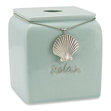 Seashell Tissue (Coastal Charms Boutique Ceramic Tissue Box Cover with Seashell Center Medallion Charm on Beaded Chain,Sea Blue)