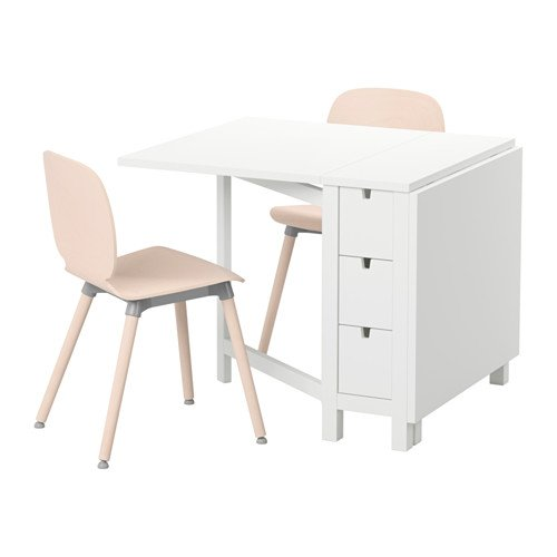 Ikea Table and 2 chairs, white, birch 16204.11217.214