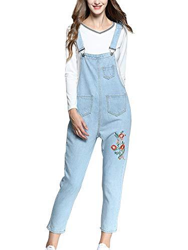 Sobrisah Women's Loose Baggy Denim Bib Harem Overalls Romper Jumpsuit Pants Light Blue Tag XL-US S