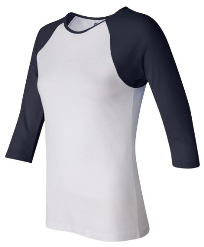 Bella+Canvas Ladies' Baby Rib 3/4-Sleeve Contrast Raglan Tee - White/ Navy - L