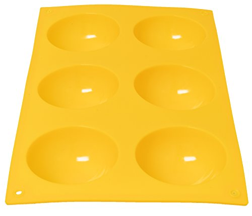 Royal Brands Silicone Molds for Cake Chocolate Candies Desserts Pro or Home Baking, Soap Candle Making Molds (6 Cavity Mold) (Yellow, Circle)