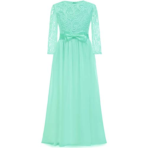 Communion Mint - 2018 Spring Flower Girl for Wedding 3/4 Sleeves Kids Lace Pageant First Communion Dress (6, Mint)