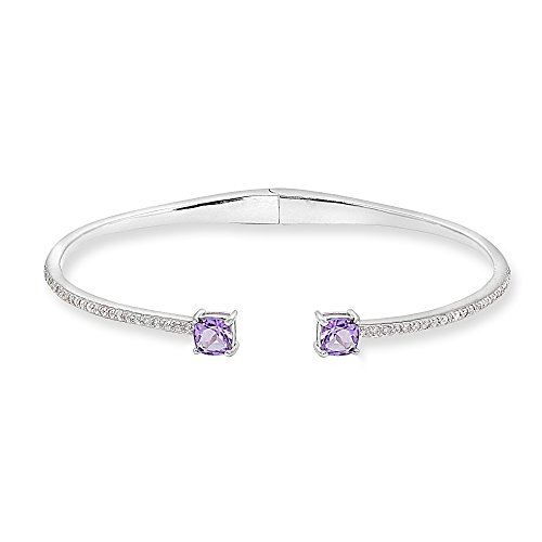 Sterling Silver Amethyst & Created White Sapphire Cushion-Cut Dainty Cuff Bangle Bracelet