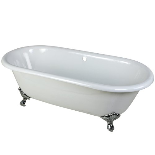 Kingston Brass Aqua Eden VCTND663013NB1 Cast Iron Double Ended Clawfoot Bathtub with Chrome Feet without Faucet Drillings,  66-Inch, White