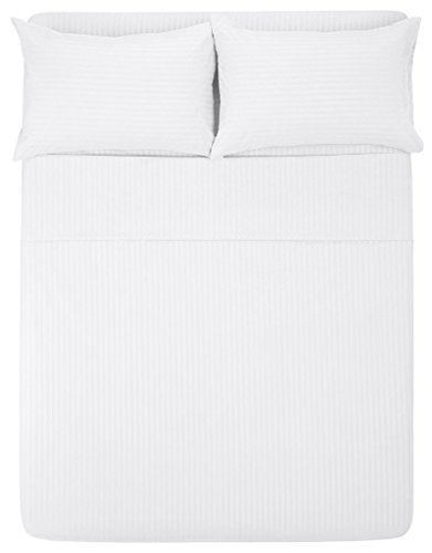 The Great American Store - 21 inch Extra Deep Pocket Bed Sheet Set - 5 Piece Split Queen Size Stripe White - 1800 Series Brushed Microfiber - Wrinkle, Fade, Stain ()